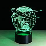 Mddjj 7 Color Change Nightlight Colorful Planes Fly Earth Modeling 3D Aircraft Lighting Fixtures Bedroom Atmospheres Table Lamp Gifts Bedroom Lights