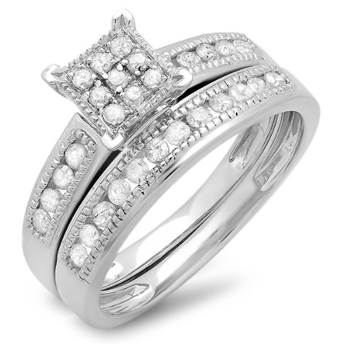 0.50 Carat (ctw) Sterling Silver Round White Diamond Ladies Engagement Bridal Ring Set Matching Wedding Band 1/2 CT (Size 8.5) by DazzlingRock Collection