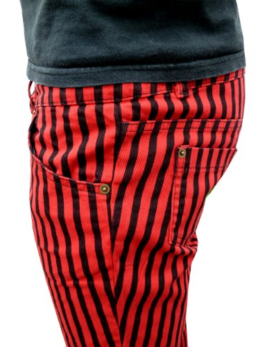 Homme Rouge Pantalon Femmes Mode Rayures Noir et Moulant Indie Jeans Tube 44nrxOz