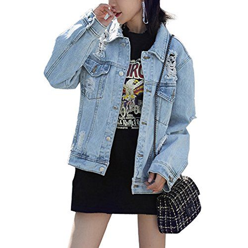 JudyBridal Oversized Womens Denim Jacket Fashion Boyfriend Ripped Jean Jacket Coat Blue L
