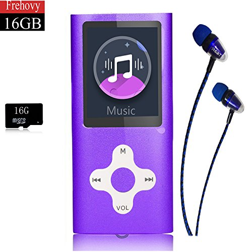 MP3 Player/Music Player,Frehovy 16GB TF Card Portable Digital Music Player/Video/Voice record/FM Radio/E-Book Reader,Ultra Slim 1.8''Screen with HiFi Earbuds