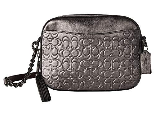 COACH Women's Metallic Signature Leather Camera Bag Gunmetal/Metallic Graphite One ()