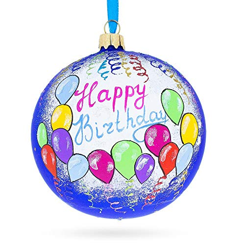 BestPysanky Happy Birthday Balloons & Cupcakes Glass Ball Christmas Ornament 4 Inches ()