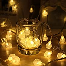 Battery Operated String Lights, KEEDA 16.4ft 50 LED Crystal Globe Ball Fairy Lights for Homes, Garden, Christmas Decorations Indoor Lighting (Warm White)
