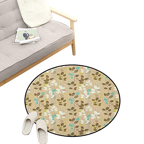Autumn Round Carpet ,Retro Fall Leaves Earth Tones Foliage Field Gardening Yard Cottage Pattern, Kids Room Bedroom Bedside Rug 23