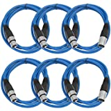 SEISMIC AUDIO - SAXLX-6 - 6 Pack of 6' Blue XLR Male to XLR Female Patch Cables - Balanced - 6 Foot Patch Cords