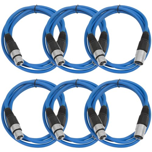 SEISMIC AUDIO - SAXLX-6 - 6 Pack of 6' Blue XLR Male to XLR Female Patch Cables - Balanced - 6 Foot Patch Cords by Seismic Audio
