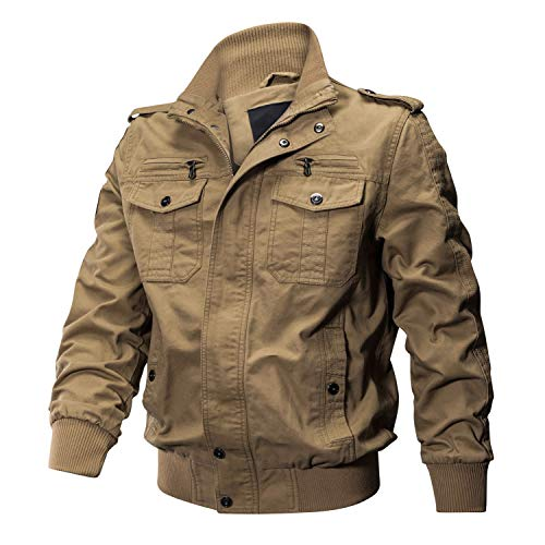 (CRYSULLY Men's Slim Fit Casual Thin Lightweight Jacket Fall Cotton Ripstop Army Flight Coats Khaki )