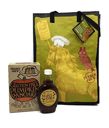 Gluten Free Trader Joe's Pumpkin Pancake and Trader Joes 100% Pure Maple Syrup 8oz Plus a Bonus Free Trader Joe's Reusable Unicorn/Perky Design Grocery Tote Bundle (3 -