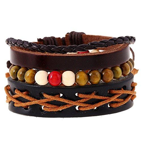 [Handmade Braided Cord Wristband Beaded Leather Bracelet 3 Wraps Sets] (Loki Dog Costume For Sale)