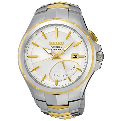 - Seiko SRN064 Men's Coutura Two-Tone Bracelet Band White Dial Watch