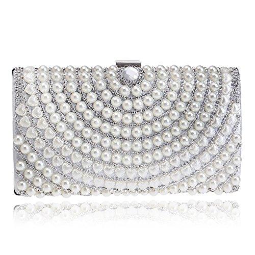 Clutch Banquet Silver Lady Crossbody Luxury Dinner Fashion Bag Pearl GROSSARTIG Bag wIH1q1