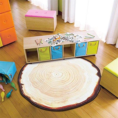 Katoot@ 3 Feet/4 Feet Carpet Rug Tree Rings Wood Stripe Kids Play Area Mat Country Style Multisize Purple Blue Lake Living Room Rugs (60CM Diameter, B)