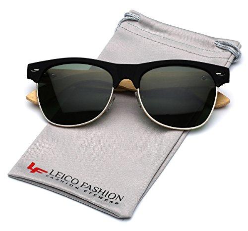 Bamboo Wood Polarized Sunglasses Retro Fashion Semi Rimless Style Frame