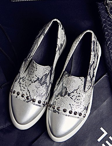 Cn34 Zapatos Black De Punta Silver Zq Uk3 Mocasines us10 5 us5 Tacón Uk8 5 Casual Plano Redonda Plata Eu42 Comfort Semicuero Cn43 Exterior Eu35 Negro Mujer 4d665q1xw