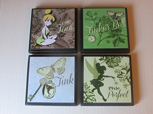Tinker Belle Room Wall Plaques - Set of 4 Tinker Belle Girls Room Decor - Tinker Belle Wall Signs - Tinker Belle Bedroom - Fairy bedroom decor