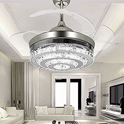 COLORLED 3-Circle Diamond Crystal Ceiling Fans with Lights Retractable 4-Blade Remote Control Lights-42 inch Fans Chandelier with LED Lights -for Indoor, Outdoor, Living ,Dining Room, Bedroom -Chorme