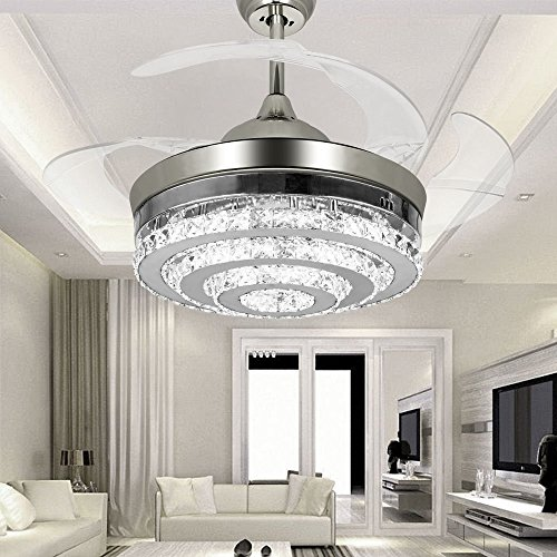 With Lights Retractable 4 Blade Remote Control 42 Inch Fans Chandelier LED For Indoor Outdoor Living Dining Room Bedroom Chorme