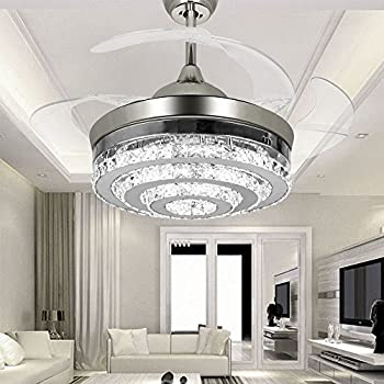 Exceptional COLORLED 3 Circle Diamond Crystal Ceiling Fans With Lights Retractable  4 Blade Remote Control