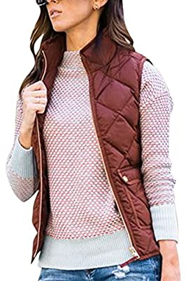 Fixmatti Women Stand Collar Lightweight Quilted Padding Jacket Vest with Pocket