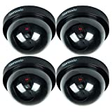 Puronic Bullet Dummy Fake Surveillance Security CCTV Dome Camera Indoor Outdoor one LED Light + Warning Security Alert Sticker Decals (4 Pack Dome, Black)