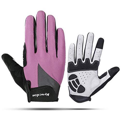 (FarJing Men Women Gloves Outdoor Sports Riding Non-slip Shock Absorption Wear Mitten(L,Pink))