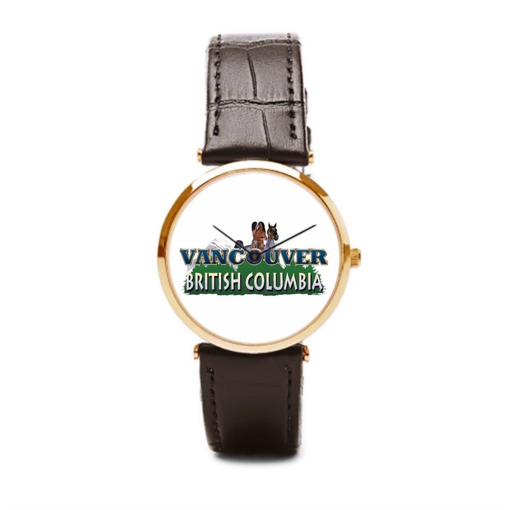 puppya barato reloj de pulsera correa de piel Montaña relojes bosque marrón/dorado: Amazon.es: Relojes