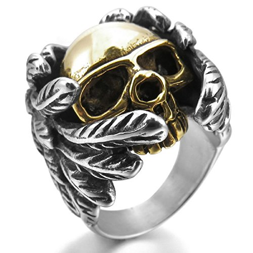 (Kalendone Men's Stainless Steel Ring Silver Gold Black Skull Wings Ring US Size 10 Jewelry)