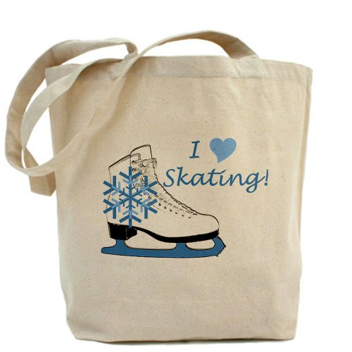 CafePress–I corazón Patinaje sobre hielo Skate–Gamuza de bolsa de lona bolsa, bolsa de la compra