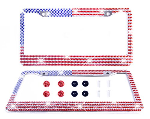 Silvery Star (Tokept Bling Rhinestones License Plate Frame for Women with 2 Hole(Star Spangled Banner))