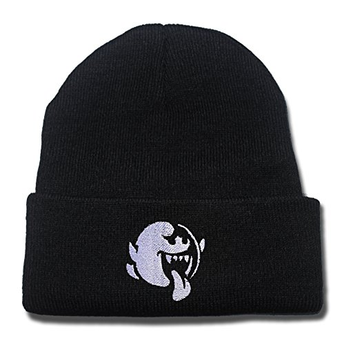 ZZZB Mario Brothers Boo Logo Beanie Fashion Unisex Embroidery Beanies Skullies Knitted Hats Skull - Line Holmes Clothing
