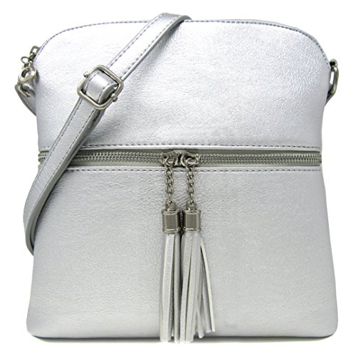 Women's Rich Faux Leather Light Weight Medium Crossbody Bag and Large Capacity Purse Organize with Adjustable Shoulder Strap (SILVER) by Solene