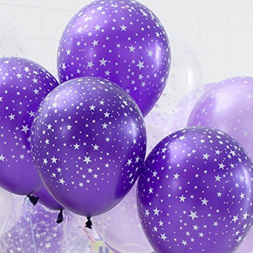 30ct Assorted Purple Light Purple Clear Around Star Balloons