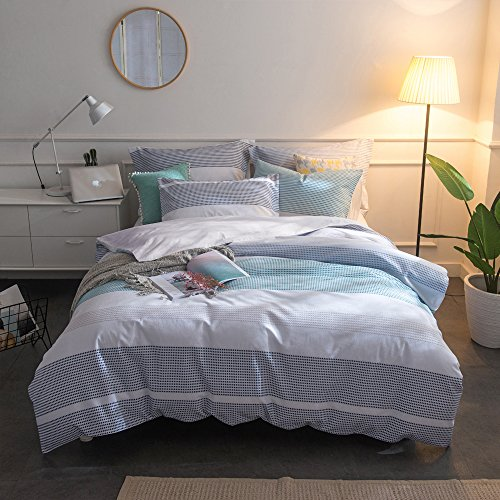 Merryfeel 100% Cotton Yarn Dyed Duvet Cover Set - Full/Queen Blue (Patterned Covers Grey Duvet)