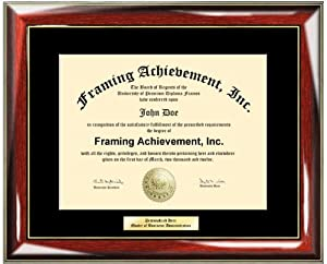 personalized gold or silver engraved plate university diploma frame glossy prestige mahogany with gold accents college diploma frame single black mat