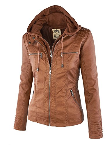 Mbj Womens Removable Hoodie Motorcycle Jacket Xs Camel