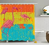 Flamingo Decor Shower Curtain Set By Ambesonne, Illustration Of Flamingos in Old Style Retro Vintage Colored Stripes Art Grunge Background, Bathroom Accessories, 69W X 70L Inches, Multi