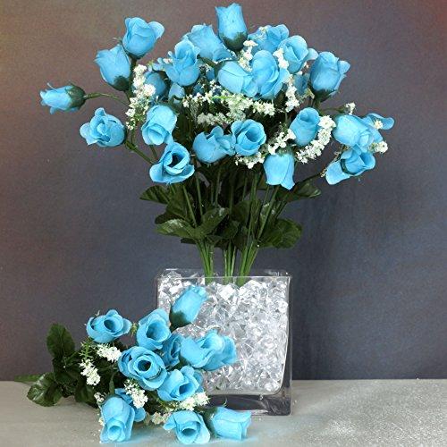 BalsaCircle 180 Turquoise Mini Silk Roses Buds - 12 Bushes - Artificial Flowers Wedding Party Centerpieces Arrangements Bouquets Supplies ()