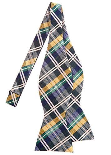Retreez Elegant Tartan Plaid Check Woven Microfiber Self Tie Bow Tie - Dark Green, Yellow and Navy Blue