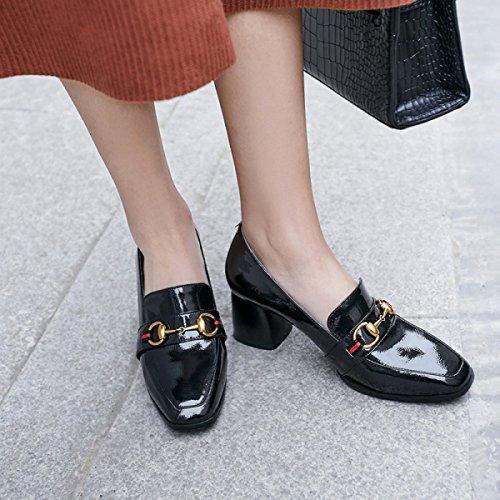 Tacón Nuevos Primavera La De Boca De Mocasines Grueso Casuales Zapatos Black De XgWqp5gwx