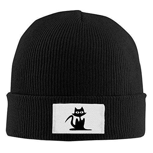 Men Women Black Cat Halloween Warm Stretchy Knit Wool Beanie Hat Solid Daily Skull Cap Outdoor Winter ()
