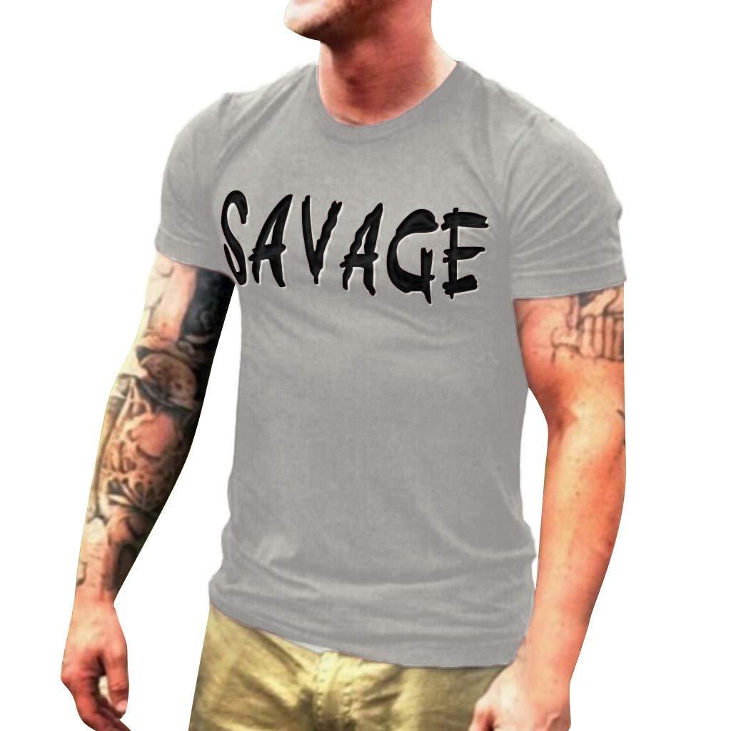 Winsummer Men's Graphic T Shirt Savage Summer Short Sleeve T-Shirts Slim Fit Casual Tees Tops Gray