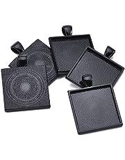 "Square Pendant Blank Tray Mixed 5 Colors Square Pendant Blanks Cameo Bezel Cabochon Settings - 1"" (25mm)"