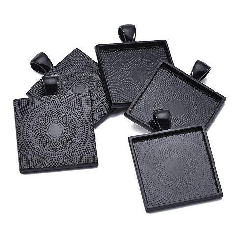 (40pcs Black Color Square Pendant Tray Square Pendant Blanks Cameo Bezel Cabochon Settings - 1
