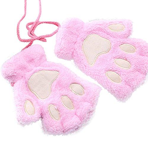 URIBAKE Women's Girls'Gloves Adorable Bear Paw Fluffy Thick Half-finger Hanging Neck Warm Novelty Gloves from URIBAKE