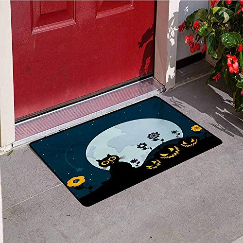Jinguizi Halloween Inlet Outdoor Door mat Cute Cat and Lanterns Moon on Floral Field with Starry Night Sky Star Cartoon Art Catch dust Snow and mud W35.4 x L47.2 Inch Blue Black ()