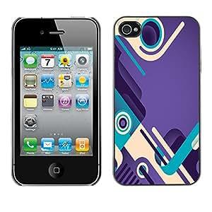 FlareStar Colour Printing Purple Teal Abstract Design Shoes Loop cáscara Funda Case Caso de plástico para Apple iPhone 4 / iPhone 4S / 4S