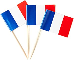 Mflagperft France Flag French Small Toothpick Mini Stick Flags Decorations (100 Pack)