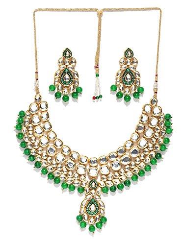 Green Zircon Necklace - Joyeria Zircon Fashion Indian Bollywood Designer Gold Plated Necklace set (Green)