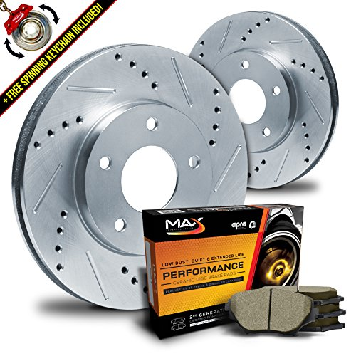 Mustang Brake Kits - Max KT032011 Front Silver Slotted & Cross Drilled Rotors and Ceramic Pads Combo Brake Kit